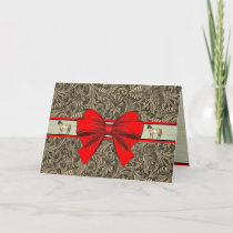 Western Faux Tooled Leather Print Christmas Card