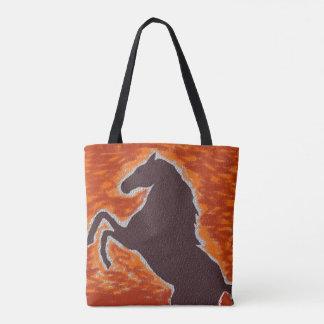 Western Fiery Mustang Tote Bag