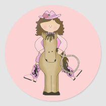 Western Fun Cowgirl, Horse, Rope Stickers