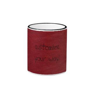 Western Fun! Red Leather Look Print Coffee Cup Ringer Coffee Mug