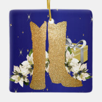 Western Gold Cowboy Boots Christmas Ceramic Ornament