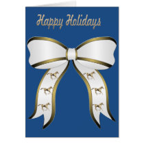 Western Gold Horse and Bow Happy Holidays Card