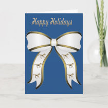 Western Gold Horse and Bow Happy Holidays Holiday Card