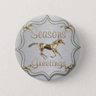 Western Gold Horse Holiday Button