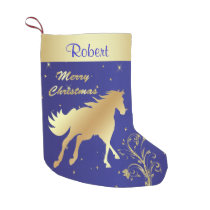 Western Gold Horse On BLue Background Small Christmas Stocking