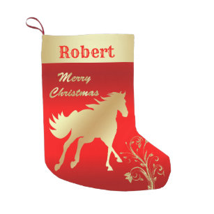 western gold horse on red small christmas stocking