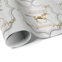 Western Gold Horse Seasons Greetings Wrapping Paper