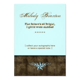 Western Graduation Announcement Blue Star Brown