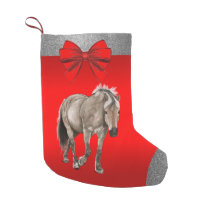 Western Grey Horse Print On Red 2 Small Christmas Stocking