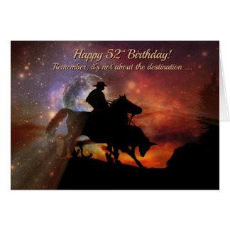 Western Happy 52nd Birthday Cowboy and Steer Card