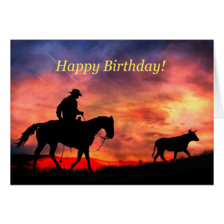 Western Happy Birthday From Across the Miles Card