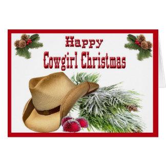 Western Happy Cowgirl Christmas Card