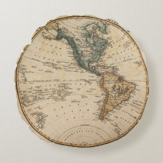Western Hemisphere 5 2 Round Pillow