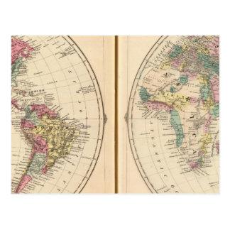 Western Hemisphere and Eastern Hemisphere Postcard