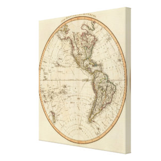 Western Hemisphere Circular Map Stretched Canvas Prints