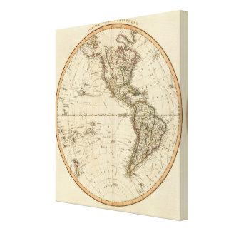 Western Hemisphere Circular Map Canvas Print