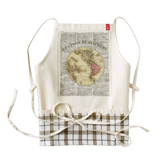 Western Hemisphere Earth map Zazzle HEART Apron