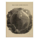 Western Hemisphere Map by Goodrich Poster