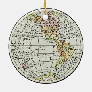Western Hemisphere Map Globe Travel Art Ceramic Ornament