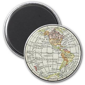 Western Hemisphere Map Globe Travel Art Magnet