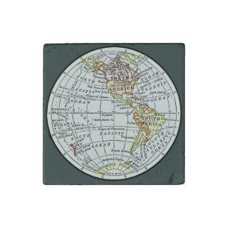 Western Hemisphere Map Globe Travel Art Stone Magnet
