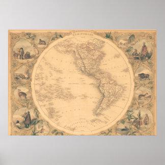 Western Hemisphere Map Poster