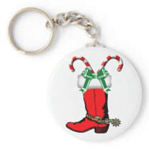 Western Holiday Keychain With Cowboy Boot