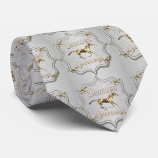 Western Holidays Gold Horse Tie