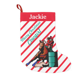 Western Home Decor Christmas Stocking Barrel Racer Small Christmas Stocking