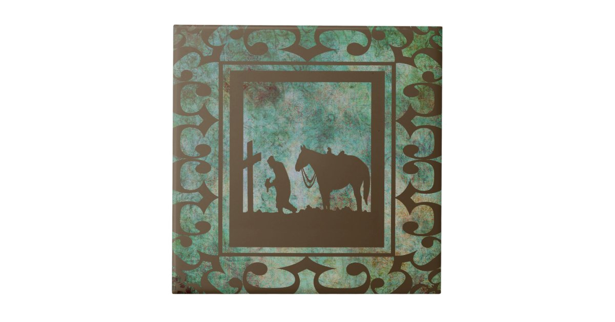 Western home decor praying cowboy tile zazzle for At home decor