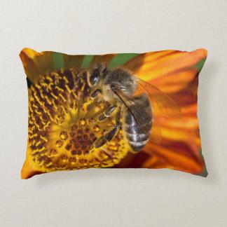 Western Honey Bee Macro Photo Decorative Pillow