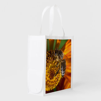 Western Honey Bee Macro Photo Grocery Bag