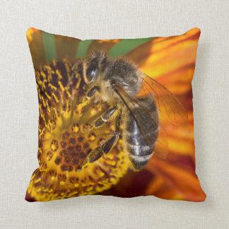 Western Honey Bee Macro Photo Throw Pillow