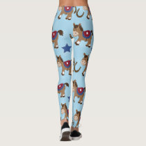 Western Horse and Horse Shoes Cartoon Leggings