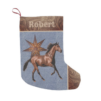 Western Horse and Star With  Faux Leather/Denim Small Christmas Stocking