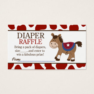 Western Horse Baby Shower Diaper Raffle Business Card