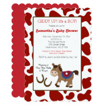 Western Horse Cow Print Die Cut Invitation