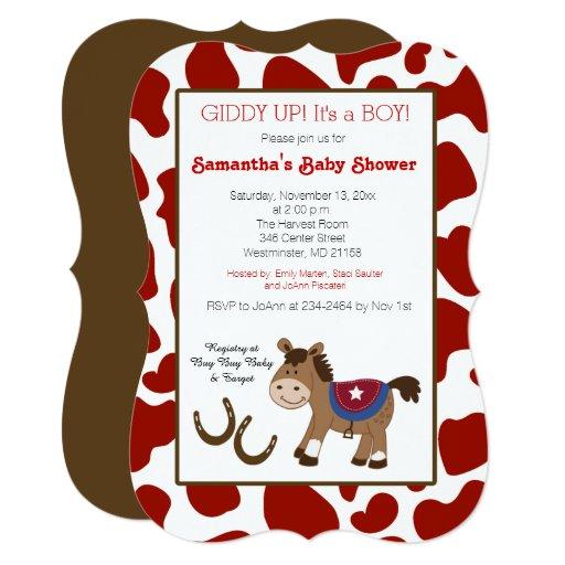 Western Horse Cow Print Die Cut Invitation