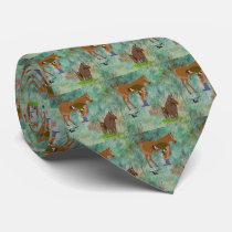 Western Horse Farrier With Horses Print Necktie