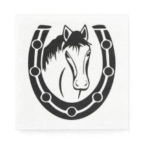 Western Horse Horseshoe Wedding Country Equestrian Napkin