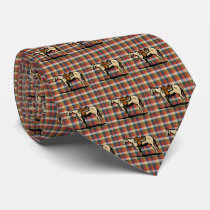 Western  Horse Print On Plaid Neck Tie