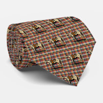 Western  Horse Print On Plaid Neck Tie