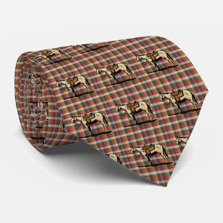 Western  Horse Print On Plaid Tie
