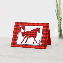 Western  Horse Red  Plaid Faux Denim Card