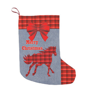 Western  Horse Red  Plaid Faux Denim Small Christmas Stocking