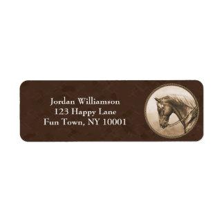 Western Horse Sepia Round Border Brown Label