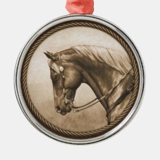 Western Horse Sepia Round Border Brown Metal Ornament