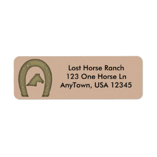 Western Horse Shoe Design Label