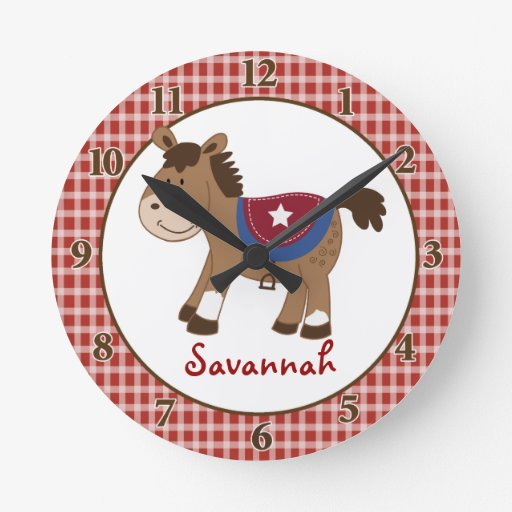 Western Horse Wall Clock - Add a Name