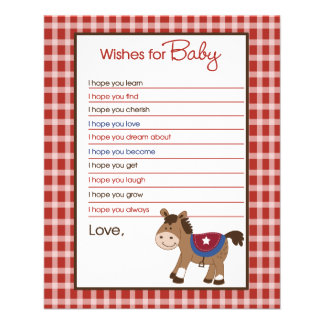 Western Horse Wishes For Baby Advice Cards Personalized Flyer